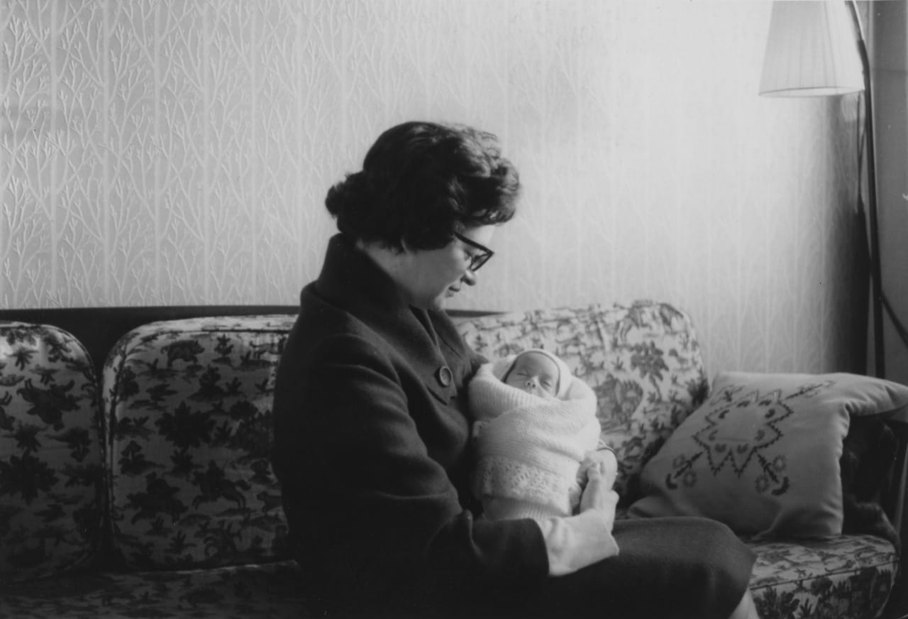 New mother and son, Worcester Park, London 1966