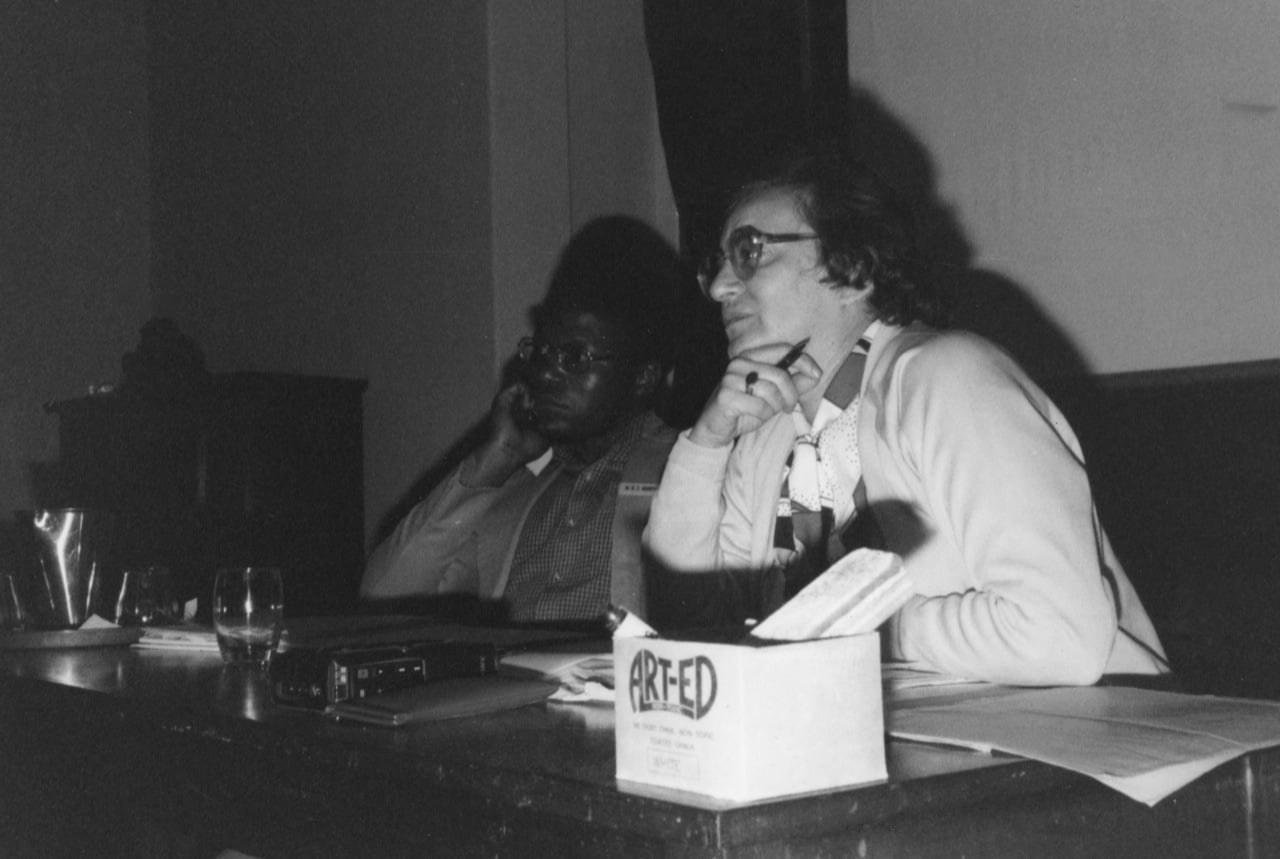 Ruth chairing First Zimbabwe Media Seminar, Harare 1980
