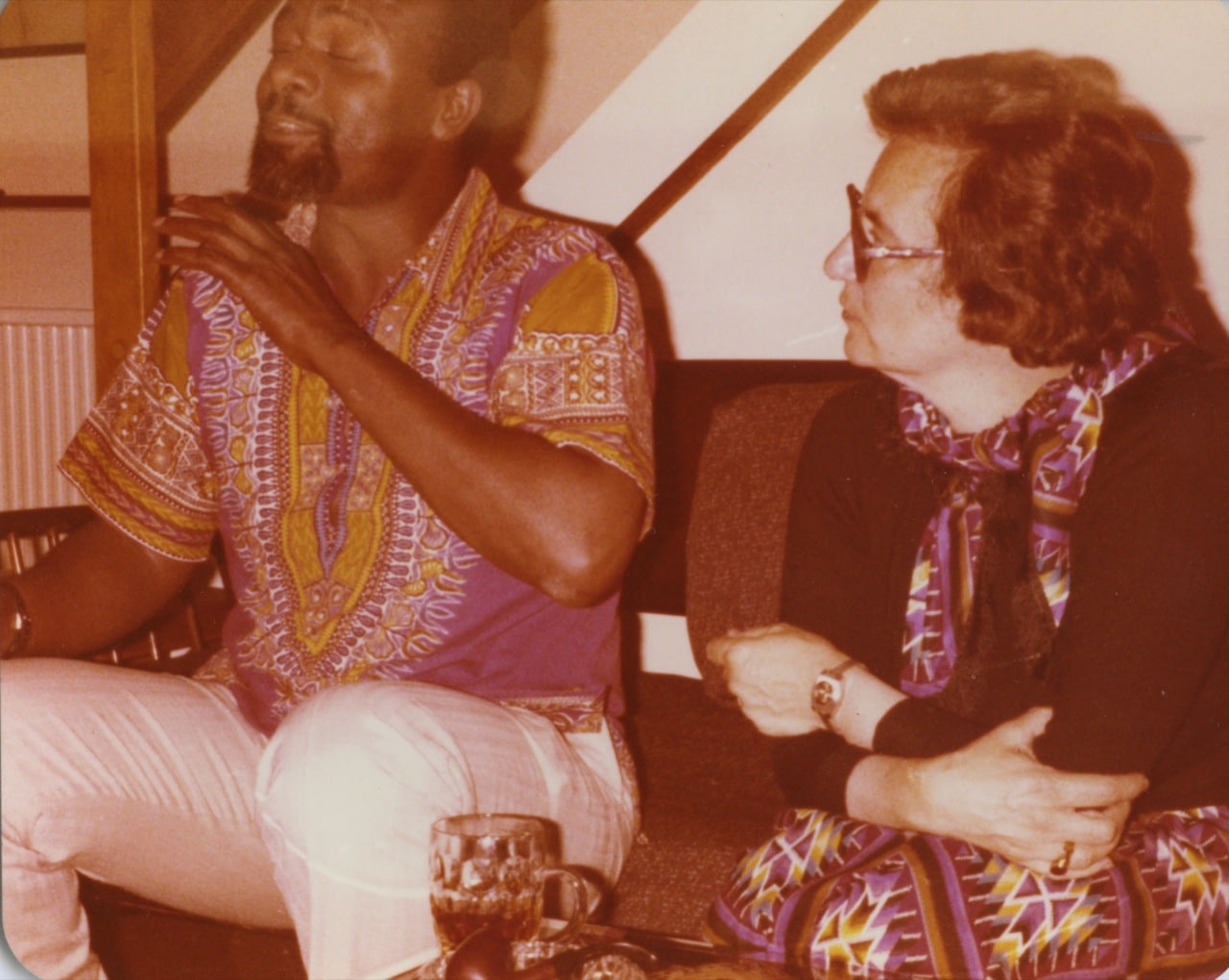 Ruth with participant at Lancaster House talks, Worcester Park, London 1979