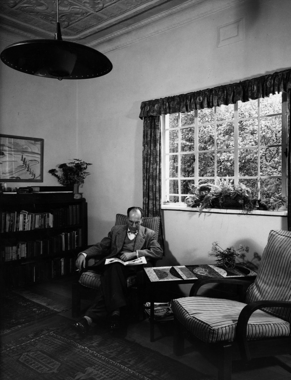 Hans Leopold Weiss at home in bungalow, Orange Grove, Johannesburg in the 50ties