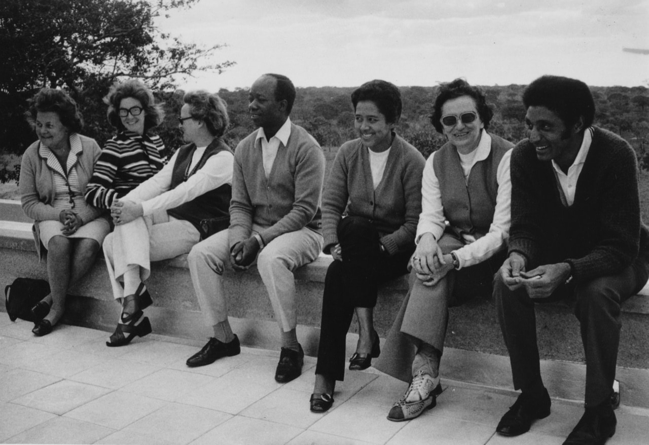 Lusaka, on roof house of June (2nd from left)and Andrew(4th from left), Ruth Weiss 6th from left