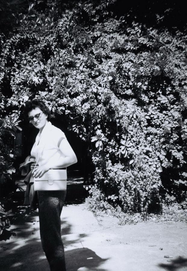 Ruth Weiss in garden,