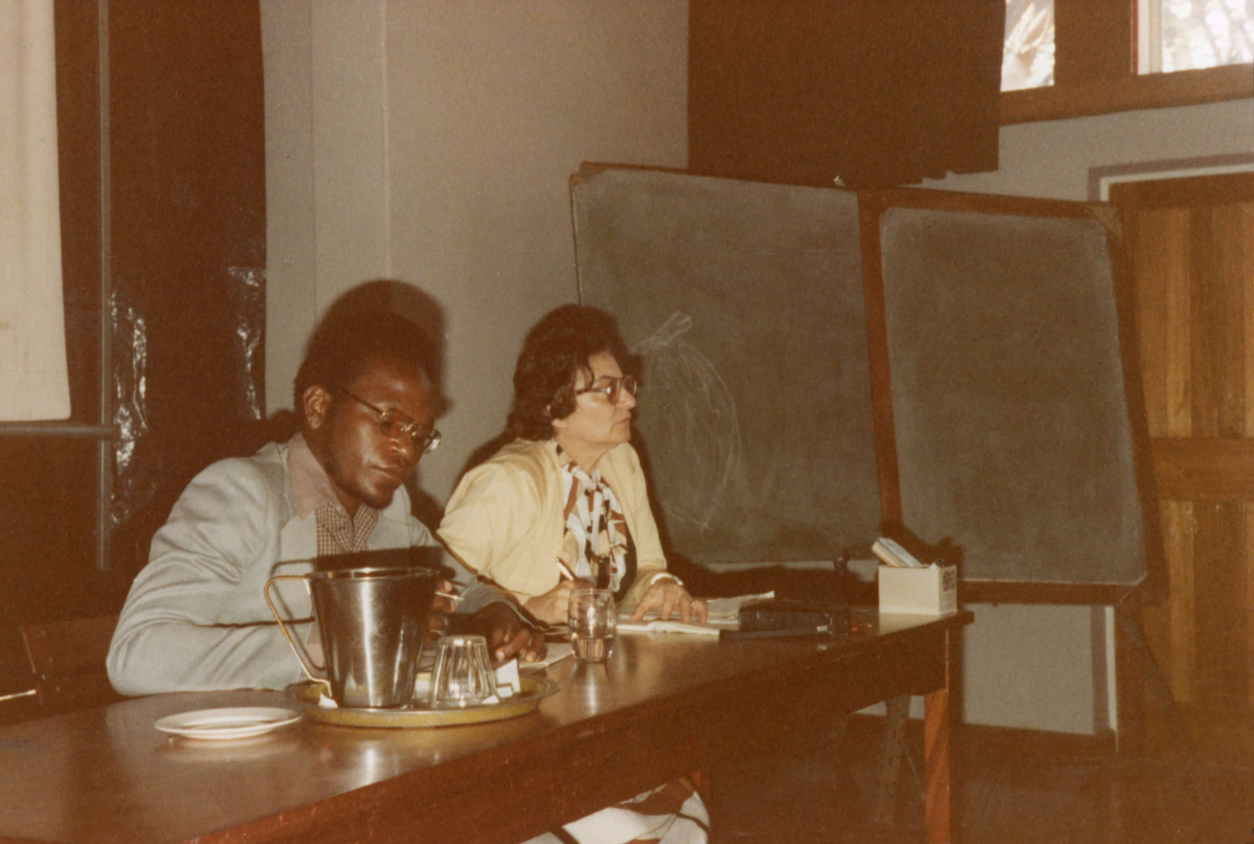 First Media Conference in Zimbabwe 1980 Ruth Weiss with co-chairman